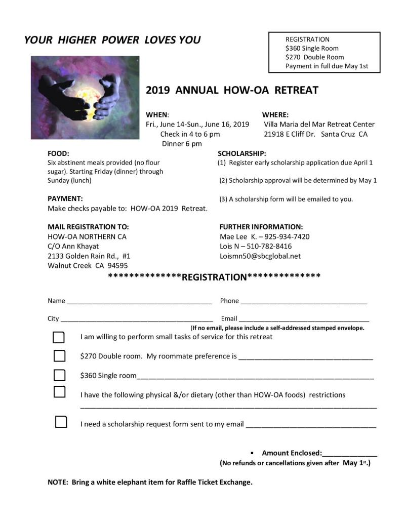 2019 HOW OA Retreat flyer